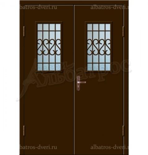 Входная двухстворчатая дверь со стеклом и решеткой 02-86