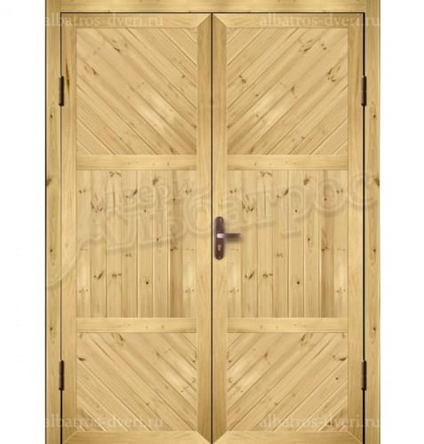 Входная металлическая двухстворчатая дверь 02-91