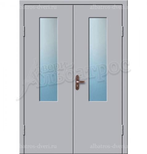 Входная двухстворчатая дверь со стеклом 02-93