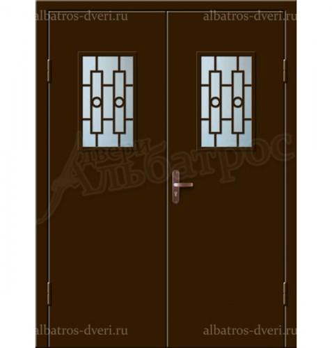 Входная двухстворчатая дверь со стеклом и решеткой 02-94