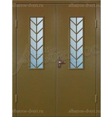Входная двухстворчатая дверь со стеклом и решеткой 02-97
