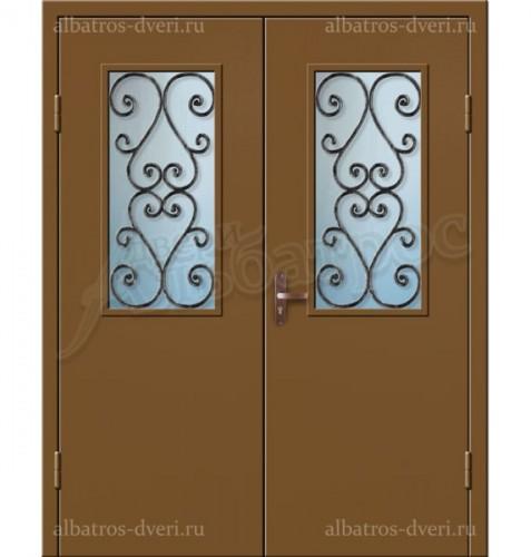 Входная двухстворчатая дверь со стеклом и решеткой 02-98