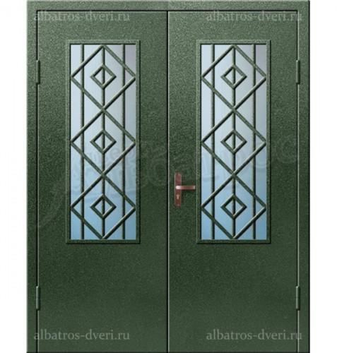Входная двухстворчатая дверь со стеклом и решеткой 03-00