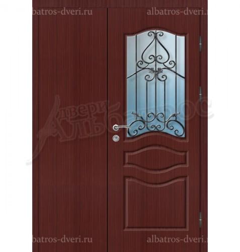 Входная двухстворчатая дверь со стеклом и решеткой 03-69