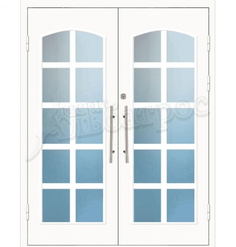 Входная металлическая дверь в коттедж со стеклом 04-20