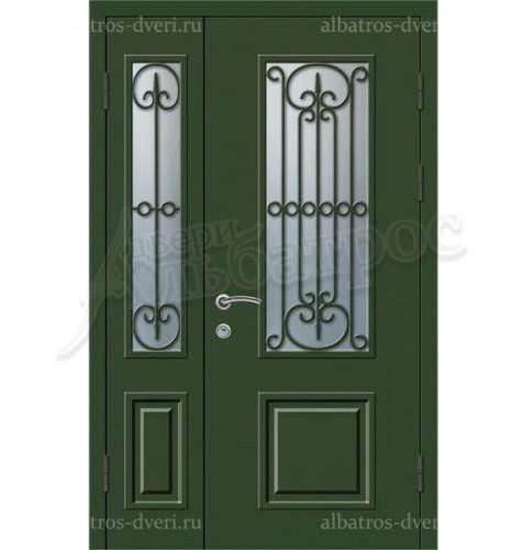 Металлическая двустворчатая дверь в коттедж, модель 15-001