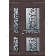 Металлическая двустворчатая дверь в коттедж, модель 15-002