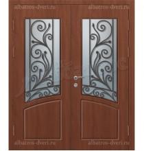 Металлическая двустворчатая дверь в коттедж, модель 15-003