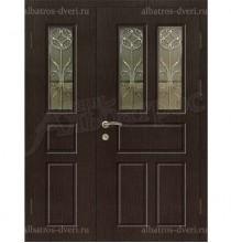 Металлическая двустворчатая дверь в коттедж, модель 15-004