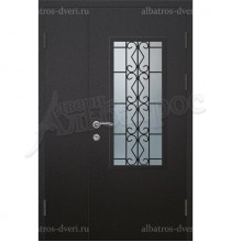Металлическая двустворчатая дверь в коттедж, модель 15-006