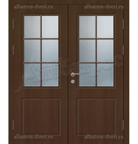 Металлическая двустворчатая дверь в коттедж, модель 15-008