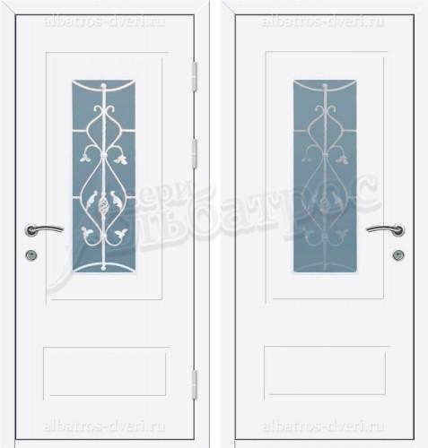 Входная металлическая дверь в коттедж со стеклом и решеткой 04-19