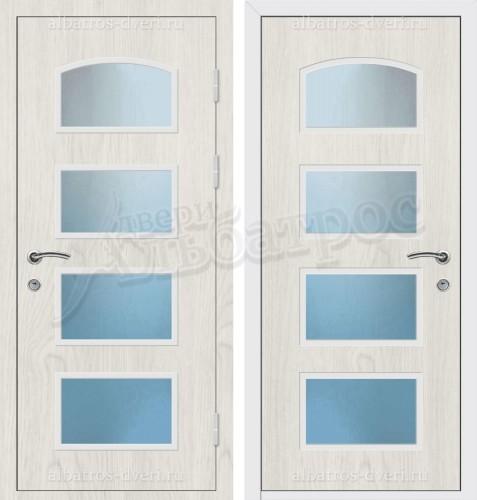Входная металлическая дверь в коттедж со стеклом 04-22