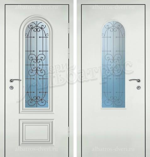 Входная дверь со стеклом и ковкой 04-56