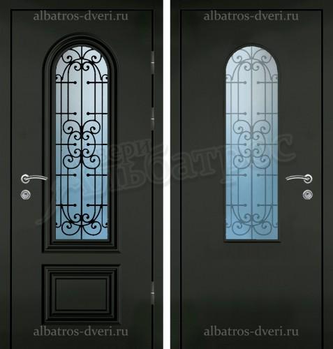 Входная дверь со стеклом и ковкой 04-58