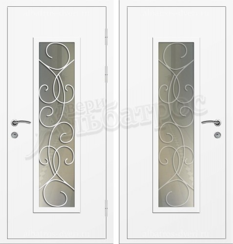 Входная дверь со стеклом и ковкой 04-60