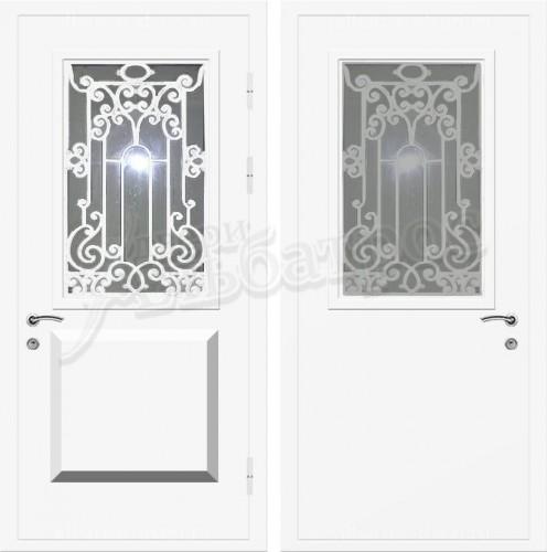 Входная дверь со стеклом и ковкой 04-64