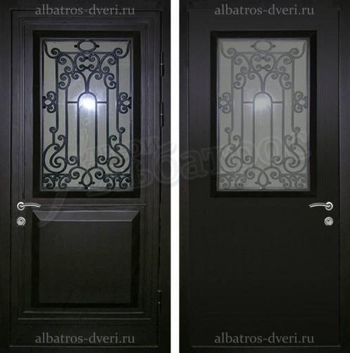 Входная дверь со стеклом и ковкой 04-66