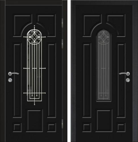 Входная дверь со стеклом и ковкой 04-74