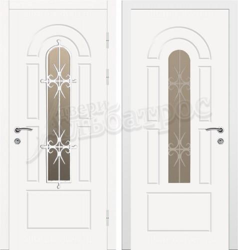 Входная дверь со стеклом и ковкой 04-76
