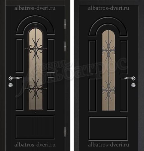 Входная дверь со стеклом и ковкой 04-78