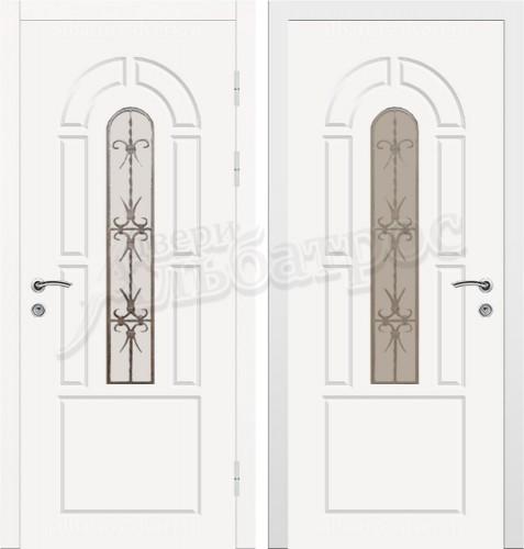 Входная дверь со стеклом и ковкой 04-80