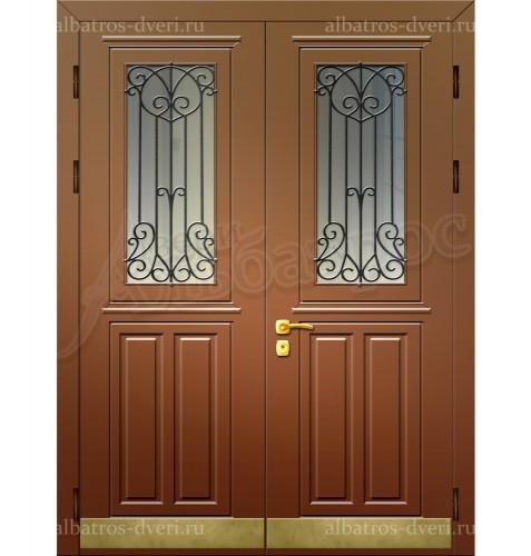Входная двухстворчатая дверь со стеклом и решеткой 00-10