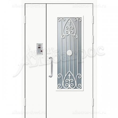 Входная двухстворчатая дверь со стеклом и решеткой 06-80