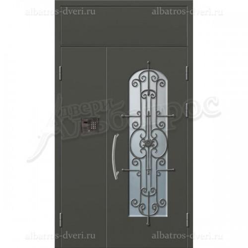 Входная двустворчатая дверь со стеклом и решеткой 06-81