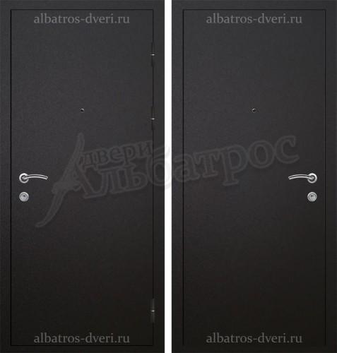 Железная дверь с отделкой порошком Антик черный 06-74