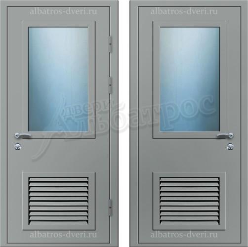 Техническая металлическая дверь с решеткой 05-26