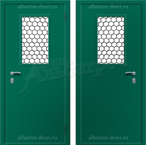 Техническая металлическая дверь с решеткой 05-29